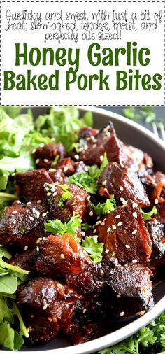 Tender, with charred bits, these Honey Garlic Baked Pork Bites are delicious and easy to prepare. Perfect for a family dinner anytime! This post and its photos were updated February 19, 2018.  Pork. I love pork. Isn't it just…