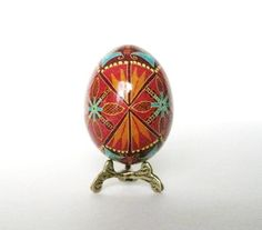 Red with Turqouise accents Pysanka Ukrainian Easter egg. $34.95, via Etsy.