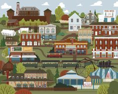 Jason Blower illustrations of Edmonton are great! He blends his talent with a love for River City, and look what happens. His work hangs at Snap Gallery.