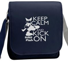 Silver Keep Calm and Kick On Horse Girls Cross Body Shoulder Bag Navy Blue