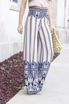 Tall Girl Pants - Aztec Print Wide Leg Pants, styled by ChicStreetStyle, only at trunk-up.com!