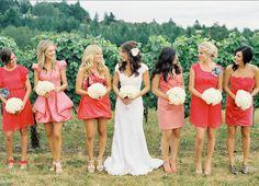 Coral bridemaids dresses.