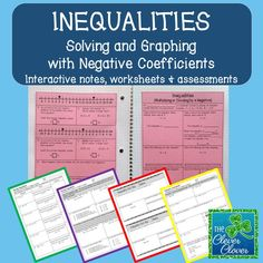 This product includes a closer look at solving inequalities that involve negative coefficients.  The following is included:  two pages of guided notes, two worksheets, two exit slips and a ten question assessment.  Answer keys are included.