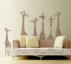 Giraffe Wall Decal - Animal Vinyl Sticker - Animal Kids Home Decor - Wall Decor Stickers - Childrens Wall Art - T3
