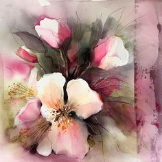 Beautiful watercolor painting by Gunnel Moheim Oil Painting Flowers, Watercolor Flowers, Watercolor Drawing, Watercolor Paintings, Watercolors, Art Inspiration Drawing, Watercolour Tutorials, Rose Art, Pretty Art
