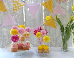 Fabric Cake/Cupcake Topper Yellow and Pink by FabricWorksByLauraL