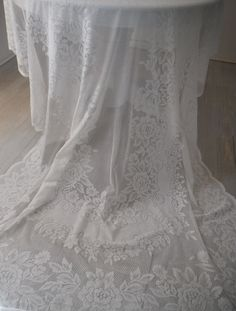 lace tablecloth off white rectangular cloth shabby by ShabbyRoad