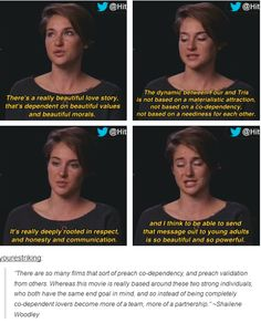 Divergent - Shailene Woodley interview about Tris and Four's relationship
