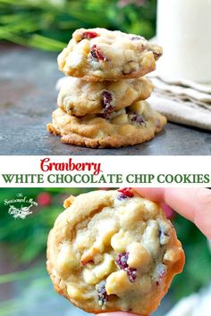 Cranberry White Chocolate Chip Cookies 'Tis the season for festive Christmas cookies! Soft, chewy and decadent, these Cranberry White Chocolate Chip Cookies are an annual family tradition -- and the perfect holiday gift to share with loved ones! Köstliche Desserts, Holiday Desserts, Holiday Baking, Holiday Recipes, Delicious Desserts, Dessert Recipes, Holiday Gifts, Plated Desserts, Galletas Cookies