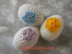 Free Crochet Pattern: Easter Eggs...these are made with plastic eggs inside. It wouldn't take long to crochet up a bunch of these, so cute!