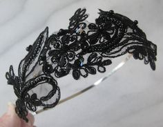 Black Lace Headband, Bridal Headband, Beaded Headpiece - JACINDA. $46.00, via Etsy.