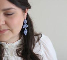 Lightweight handmede earrings statement geometric blue | Etsy Blue Earrings, Statement Earrings, Photo Jewelry, Jewelry Box, Ear Studs, Beautiful Gift Boxes, Flower Patterns, White Flowers, Earrings Handmade