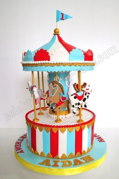 Celebrate with Cake! Carnival Birthday Cakes, Carnival Cakes, Circus Cakes, Carousel Birthday, Cupcake Birthday Cake, Circus Birthday, Birthday Cake Toppers, Circus Party, Carnival Costumes