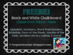 Freebies Chalkboard Classroom Decor Pack