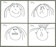 Here's a good step-by-step lesson about drawing emotional facial expressions with students age 6-9.
