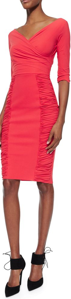 La Petite Robe di Chiara Boni Samaritana 3/4-Sleeve Ruched Dress, Coral