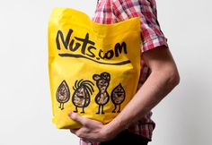 New packaging with illustrated character detail designed by Pentagram for nut, snack, tea and coffee brand Nuts.com