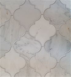 Stone Arabesque Mosaic Tile | Oriental White Marble Honed