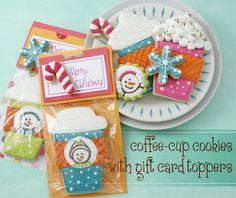 Coffee Cup Cookies with Gift Card Toppers - Klickitat Street