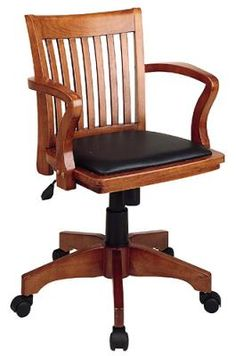 Antique Bankers Oak Rolling Desk Chair 1920s Wood Casters