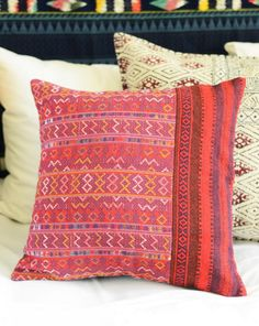 Dark Red India Block Pillow.