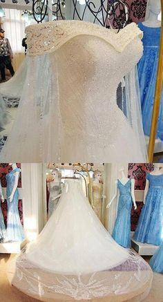 Elegant Off-Shoulder Bridal Gown Tulle Train Wedding Dresses with Beaded Elegante off-Shoulder Brautkleid Tüll Zug Brautkleider mit Perlen Tulle Wedding Gown, Wedding Dress Train, Wedding Dress Trends, Elegant Wedding Dress, Dream Wedding Dresses, Bridal Dresses, Wedding Ideas, 20s Wedding, Elegant Gowns