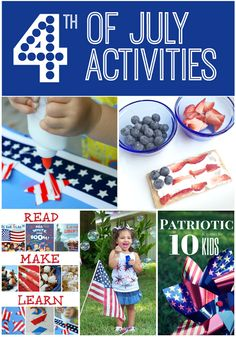 4th of July Activities for kids. Featuring patriotic themed lesson plans that are hands on fun with red, white and blue for kids.
