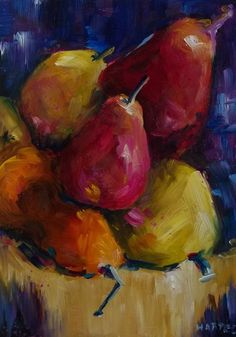 Original Oil Painting Pears Fruit Still Life