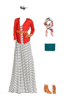 Striped Maxi Dress with Cardigan & Belt