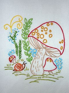 Retro mushrooms hand-embroidered tea towel by Melys Hand-Embroidery, via Flickr