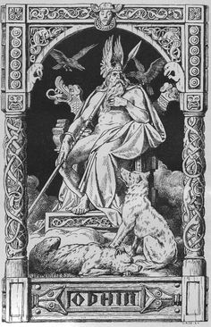 Odin, his two ravens and two wolves