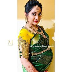 Amazing embroidered blouse in shade of yellow paired with bottle green saree😍 . Styling by Embroidered blouse… Wedding Saree Blouse Designs, Pattu Saree Blouse Designs, Fancy Blouse Designs, Designs For Dresses, Salwar Designs, Bottle Green Saree, Stylish Blouse Design, Designer Blouse Patterns, Work Blouse