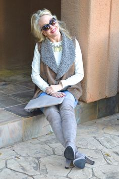 Over the Knee boots, shearling vest