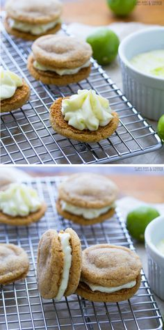 Key Lime Pie Sandwich Cookies: key lime cream cheese filling is sandwiched between two soft graham cracker sugar cookies   sweetpeasandsaffron.com