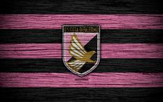 Download wallpapers US Palermo, Serie B, 4k, football, wooden texture, black and pink lines, Italian football club, Palermo FC, logo, emblem, Palermo, Italy