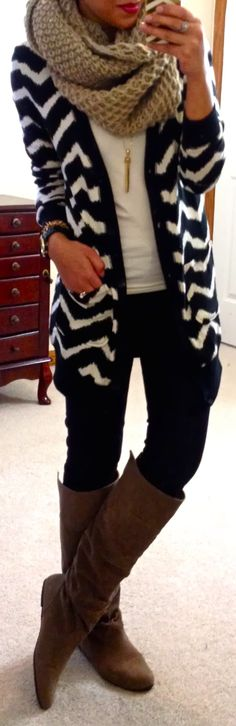 chevron cardi, chunky scarf, & boots...cute but I wouldn't use a tan scarf and I'd also do black boots :)