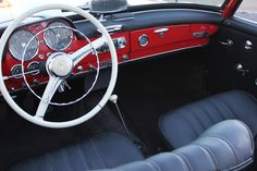 Steering wheel and dash of the 1961 Mercedes 190 SL