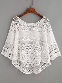 #MakeMeChic - #MAKEMECHIC White Crochet Hollow Out Dip Hem Blouse - AdoreWe.com