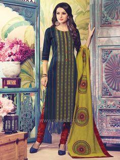 Cotton Printed Round Neck Churidar Suit by Shagufta.... #rajwadi #readytowear #suit #shagufta #partywear #churidarsuitonline #designersuits #casualwear
