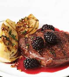 Sirloin Steaks with Cabernet Blackberry Sauce & Grilled Fennel