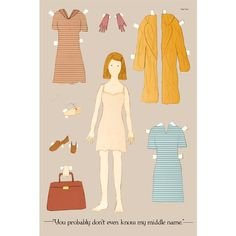 The Margot Tenenbaum paper doll inches postcard. via Etsy. Wes Anderson Movies, The Royal Tenenbaums, Paper News, Paper Dolls, High Fashion, Cool Outfits, Vibrant Colors, Aurora Sleeping Beauty, My Style