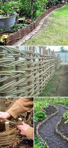Braided and Woven Vines Used As Natural Garden Border  #gardenborder #gardenedging #wovenvines