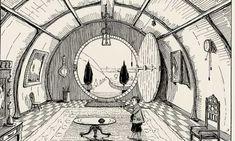 Tolkien's illustration of Bilbo Baggins's home