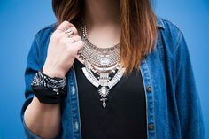 {The Vintage Denim Shirt Dress   Simply Audree Kate} Stunning silver chain necklace with a black bandana and jean dress