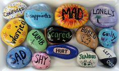 Art therapy activities for children Feelings Rocks from Just for Kids.a great teaching aide for kids about their feelings.an interesting article and concept using painted rocks with feelings! Counseling Activities, Art Therapy Activities, Play Therapy, School Counseling, Activities For Kids, Speech Therapy, Grief Activities, Group Counseling, Therapy Ideas