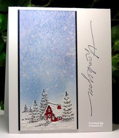 Peaceful Bliss (FG) by Francie G. - Cards and Paper Crafts at Splitcoaststampers Christmas Cards 2018, Xmas Cards, Holiday Cards, Penny Black Karten, Penny Black Cards, Winter Karten, Beautiful Christmas Cards, Paint Cards, Making Greeting Cards