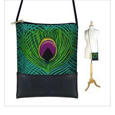 SALE Peacock Feather Boho  sling bag Small by janinekingdesigns