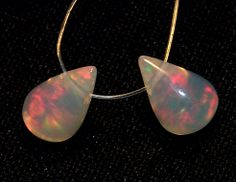 2.50 ct Natural Red Fire Ethiopian Welo Clear Opal Smooth Tear Drops Pair(2 Pcs)