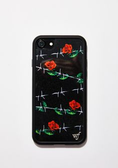 Wildflower Barbed Rose iPhone Case cuz you're love is not for everyone. Feel exclusive with this iPhone case that has a rose N' barbed wire print all ova and a rubber bumper all around the case.#dollskill #home #homedecor #homesweethome #officeaccesories #technology #techstuff #techaccessories