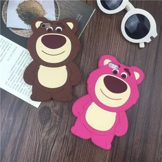 2017 3D Cartoon Pink Strewberry Bear Funda Cover Cases For iphone 5 5s 6 6s 6plus 6s plus 7 7plus Protective Silicone Cover